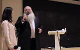 Rabbi Shimon Freundlich speaking at Family Hospital in Beijing, China in 2018. (Courtesy of Chabad China via JTA)