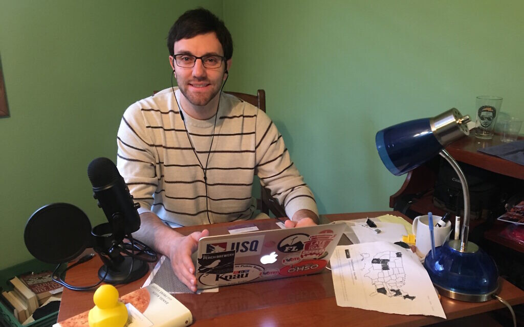 'American Rabbi Project' podcaster Justin Regan at work. (Courtesy)