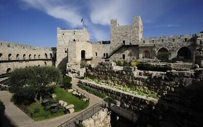 The outdoor areas of the Tower of David Museum at the Jaffa Gate in Jerusalem's Old City make it a easier to visit during the restrictions necessitated by the 2020 coronavirus (Courtesy Tower of David Museum)