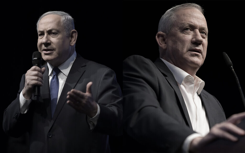 Composite photo shows Prime Minister Benjamin Netanyahu, left, and Blue and White party chief Benny Gantz, right. (Flash90)