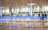 The empty departure hall at Ben Gurion International Airport, March 11, 2020. (Flash90)