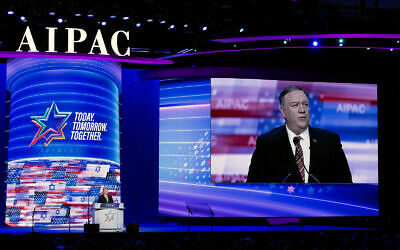 US Secretary of State Mike Pompeo speaks at the American Israel Public Affairs Committee (AIPAC) 2020 policy conference in Washington, DC, March 2, 2020. (AP/Jose Luis Magana)