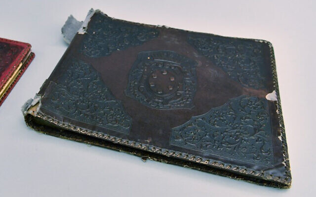 A Nazi photo album bound with human skin identified by researchers at the Auschwitz-Birkenau Memorial and Museum. (Courtesy/Auschwitz-Birkenau Memorial and Museum)