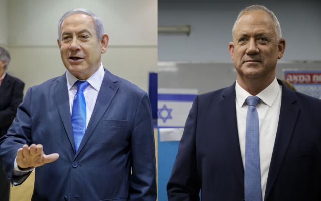 A composite image of Prime Minister Benjamin Netanyahu (L) and Benny Gantz at polling stations in Jerusalem and Rosh Haayin, respectively, during the Knesset Elections on March 2, 2020. (Marc Israel Sellem/POOL, AP Photo/Sebastian Scheiner)