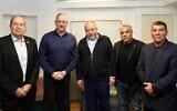 Yisrael Beytenu's Avigdor Liberman (C) meets Tuesday March 10 with Blue and White leaders Benny Gantz (2L), Yair Lapid (2R), Gabi Ashkenazi (R) and Moshe Ya'alon (L) (Courtesy/Elad Malka)