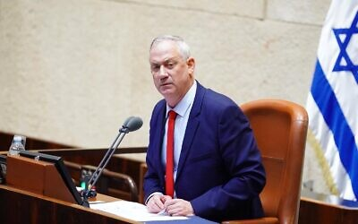 Benny Gantz at the Knesset on March 26, 2020, after being elected Knesset speaker. (Knesset)