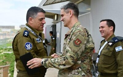 The head of the Israeli Air Force Maj. Gen. Amikam Norkin meets with a senior American officer during the biennial Juniper Cobra air defense exercise in Israel in March 2020. (Israel Defense Forces)