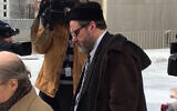 Rabbi Barry Freundel exits a courthouse after entering his guilty plea, February 19, 2015. (Dmitriy Shapiro/Washington Jewish Week via JTA)