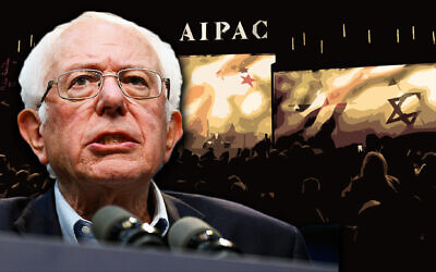 Sen. Bernie Sanders against a backdrop of an AIPAC annual policy conference. (Getty Images/JTA Montage)