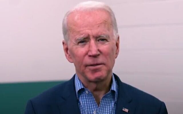Former vice president Joe Biden in a video address to AIPAC, March 2, 2020 (Screen grab/Twitter)