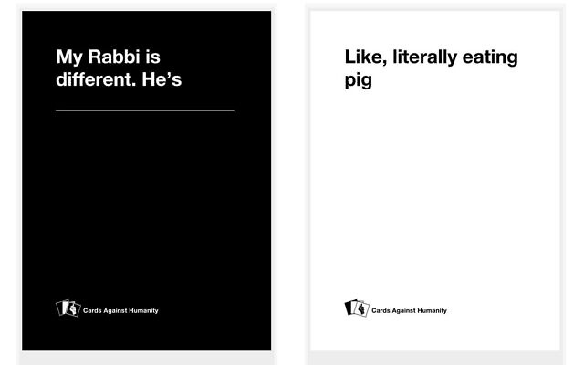 A pairing of cards from Kiruv vs. Humanity. (Courtesy)