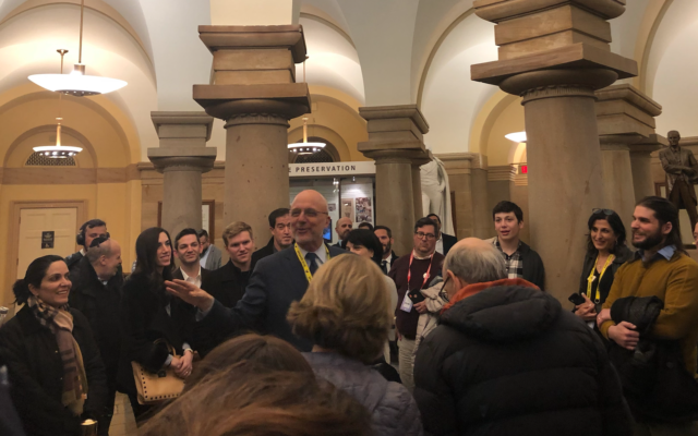 Congressman Ted Deutch at the Crypt of the Capitol, during the annual tour he gives to Camp Ramah alumni during the AIPAC Policy Conference, this year on March 1, 2020 (Jessica Steinberg/Times of Israel)