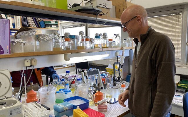 Prof. Isaiah (Shy) Arkin in his lab at the Hebrew University, March 29, 2020 (ToI staff)