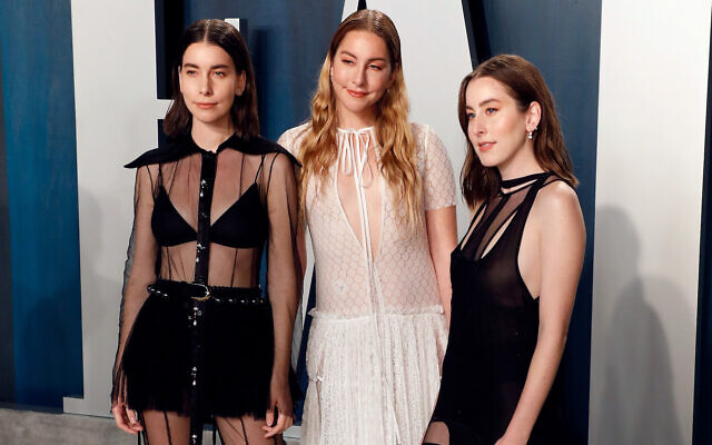 Danielle Haim (L) Este Haim (C) and Alana Haim (R) attend the Vanity Fair Oscar Party at the Wallis Annenberg Center for the Performing Arts on February 09, 2020 in Beverly Hills, California. (Taylor Hill/FilmMagic via JTA)