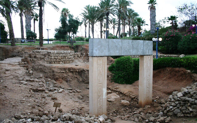 "An excavation of ancient Egyptian ruins in Jaffa near the ""Gate of Faith"" statue. (Shmuel Bar-Am)"
