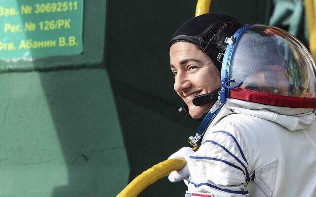 Astronaut Jessica Meir before launching on a mission to the International Space Station. (Sergei Savostyanov/TASS via Getty Images / JTA)