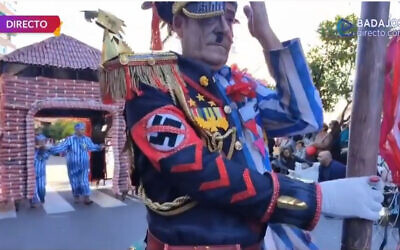 Screen capture from video of participants at a Holocaust-themed carnival in Badajos, Spain, February 23, 2020. (Extremadura Canal via JTA)