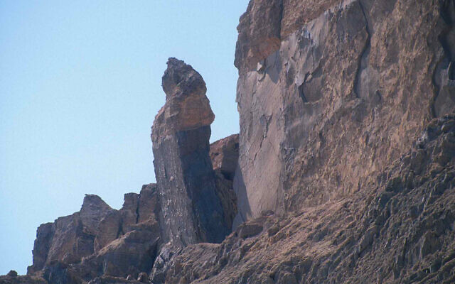 A pillar said in Biblical tradition to be Lot's Wife on Mount Sodom near the Dead Sea. (Shmuel Bar-Am)