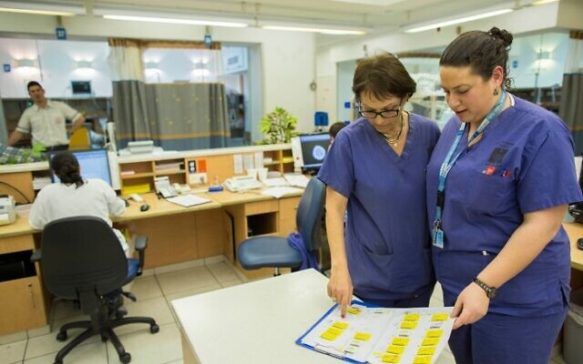 Nurses at Hadassah Hospital, Ein Kerem, Jerusalem, on February 19, 2014. (Yonatan Sindel/Flash90)