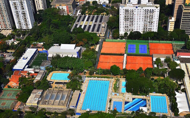 An aerial view of Sao Paulo's huge Hebraica club, the main meeting place for the city's Jewish community. (Courtesy of Hebraica via JTA)