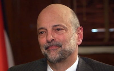 Jordanian Prime Minister Omar Razzaz speaks to CNN, March 2, 2020. (CNN screenshot)