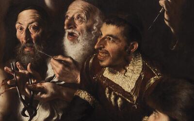 "A segment of the painting ""The Martyrdom of St. Simon of Trento for Jewish ritual murde."" (Giovanni Gasparro/Facebook via JTA)"