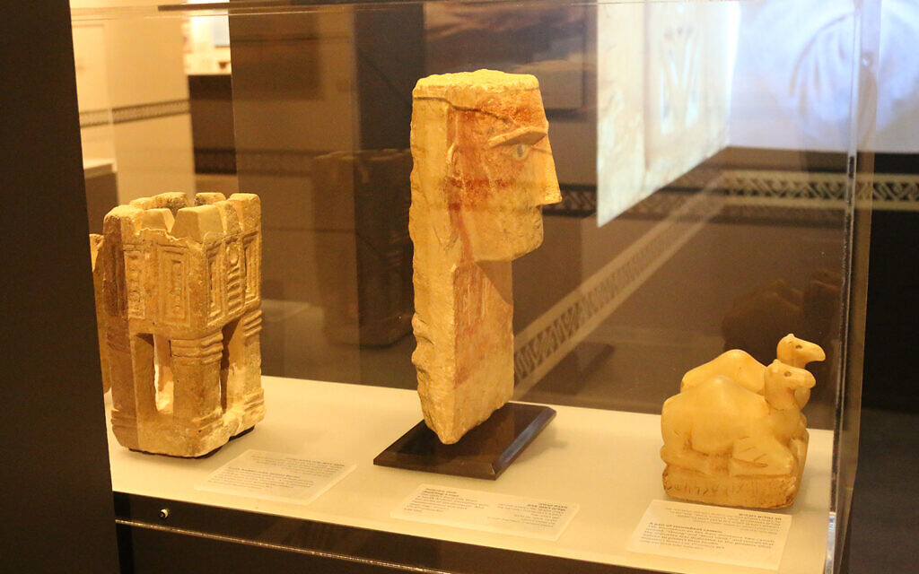 Ancient Yemenite statuettes on display at the Bible Lands Museum. (Shmuel Bar-Am)