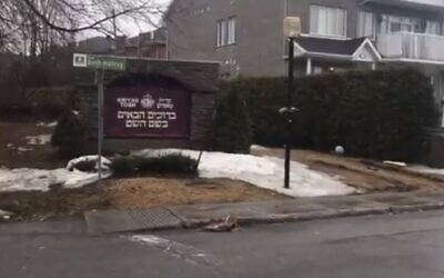 The entrance to Kiryas Tosh, Canada, March 30, 2020. (Screen grab/Twitter)