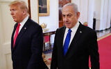 US President Donald Trump (left) and Prime Minister Benjamin Netanyahu arrive for an announcement of Trump's Middle East peace plan at the White House, January 28, 2020. (Mandel Ngan/AFP via Getty Images via JTA)