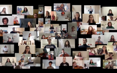 Some of the 100 students from the Thelma Yellin school in Jerusalem, who got to take part in a virtual concert (Courtesy Facebook video screen grab)