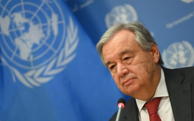 United Nations Secretary-General Antonio Guterres at UN Headquarters in New York City, on February 4, 2020. (Angela Weiss / AFP)