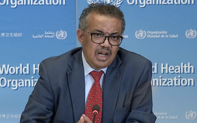 A TV grab taken from a video released by the World Health Organization (WHO) shows WHO Chief Tedros Adhanom Ghebreyesus attending a virtual news briefing on COVID-19 from the WHO headquarters in Geneva on April 6, 2020. (AFP)