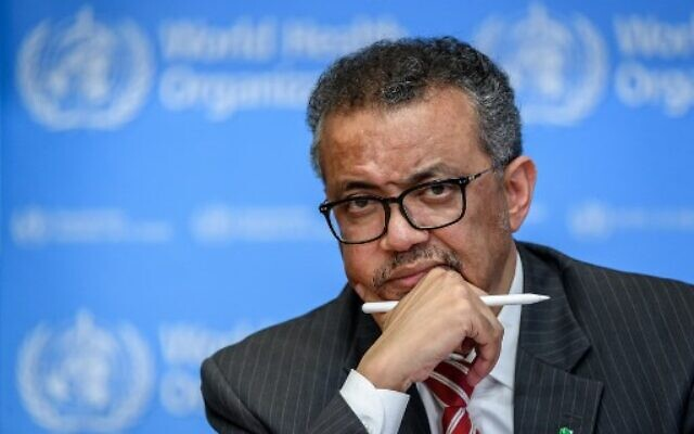 In this photo taken on March 11, 2020, World Health Organization Director-General Tedros Adhanom Ghebreyesus attends a daily press briefing on COVID-19, at the WHO headquarters in Geneva. (Fabrice COFFRINI / AFP)