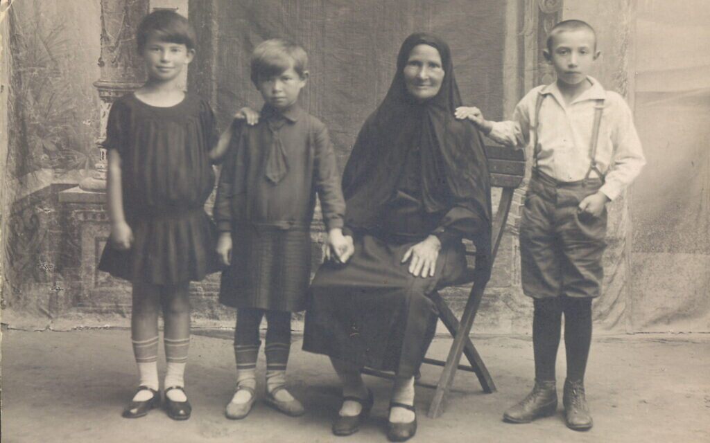 Esther Safran Foer's mother, Ethel, left, with her younger sister, Pesha, their grandmother Rose, and their cousin, Freika. (Courtesy)