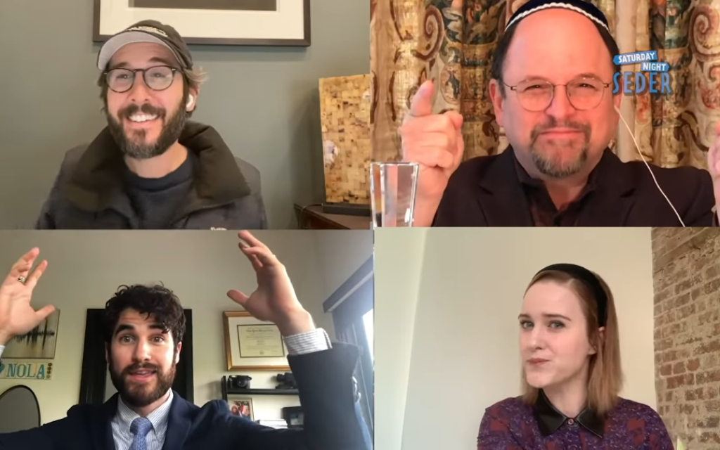 Jason Alexander, upper right, invites non-Jews Josh Groban, upper left, Darren Criss, lower left and Rachel Brosnahan to join in a virtual Seder webcast on YouTube, April 11, 2020. (Screenshot)