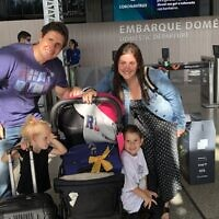 The Burdman family prepares for its odyssey to Israel. (Courtesy of the Burdman family via JTA)