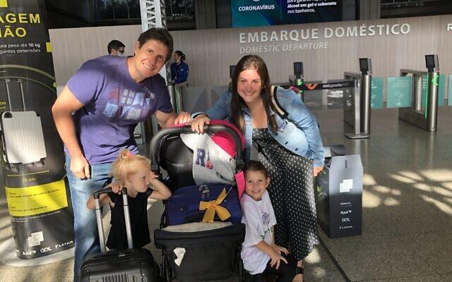 The Burdman family prepares for its odyssey to Israel. (Courtesy of the Burdman family via JTA)
