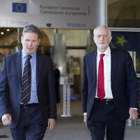 Keir Starmer, left, with Jeremy Corbyn at the European Union headquarters in Brussels after a bilateral Brexit meeting, September 27, 2018. (Thierry Monasse/Getty Images)