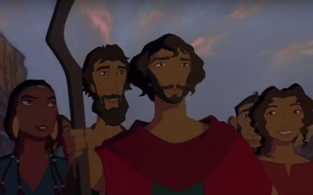 From left: Tzipporah, Aaron, Moses and Miriam, voice by Michelle Pfeiffer, Jeff Goldblum, Val Kilmer and Sandra Bullock, respectively, in 'The Prince of Egypt.' (Screen shot from YouTube/ via JTA)