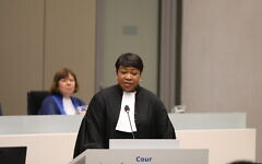 Chief prosecutor of the International Criminal Court Fatou Bensouda at the opening of the court's judicial year with a Special Session at the seat of the court in The Hague, January 23, 2020. (courtesy ICC)