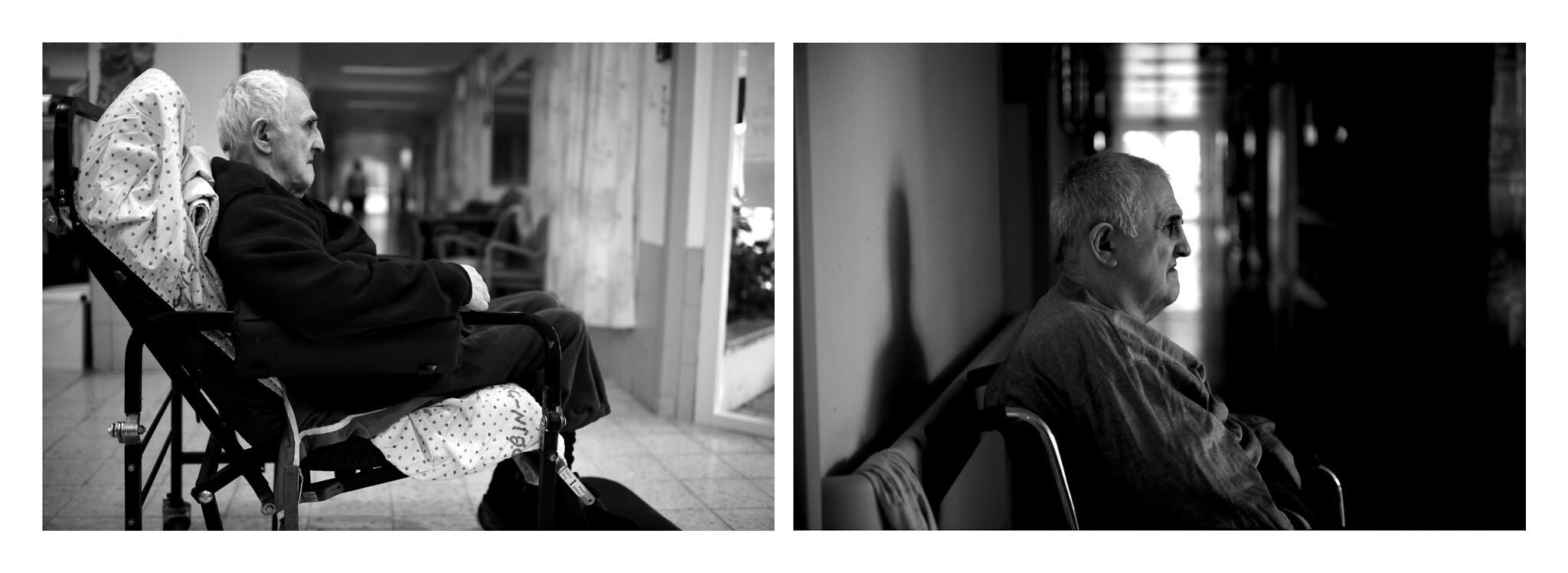 Left, 2020: Efraim Kruzel, 80, sits in his fixed spot. Right, 2010: Efraim Kruzel, 70 at that time, at the hostel (Courtesy Gili Yaari)