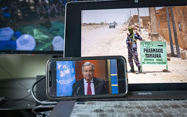 United Nations Secretary-General António Guterres⁦ giving a virtual briefing on April 3, 2020. (Loey Felipe/UN)