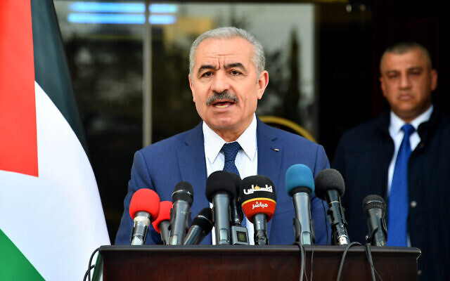Palestinian Authority Prime Minister Mohammad Shtayyeh speaks to reporters during a press conference on April 13, 2020. (Wafa)