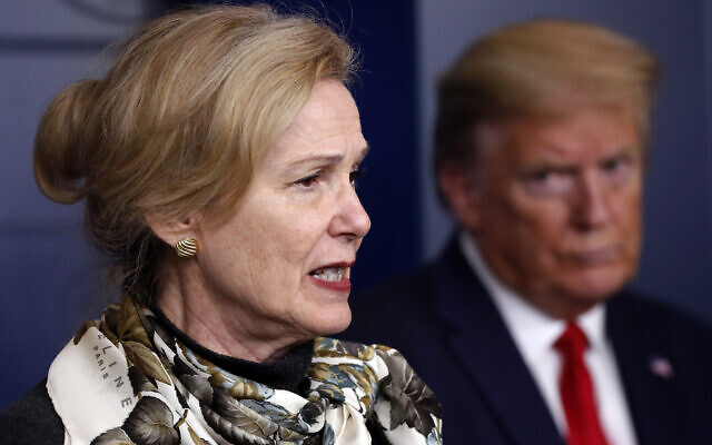 Then-US president Donald Trump (R) listens as Dr. Deborah Birx, then-White House coronavirus response coordinator, speaks about the coronavirus, in the James Brady Press Briefing Room of the White House on April 22, 2020, in Washington. (AP/ Alex Brandon)