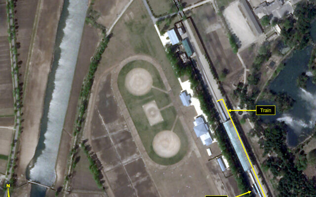 This April 23, 2020, satellite image provided by Planet Labs and annotated by 38 North, a website specializing in North Korea studies, shows the Leadership Railway Station in Wonsan, North Korea (2020 Planet Labs Inc. via AP)
