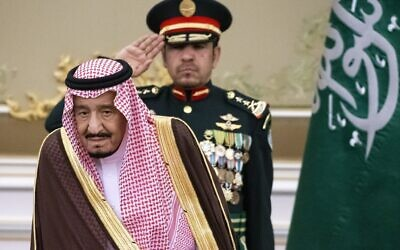 In this Oct. 14, 2019 file photo, Saudi Arabia's King Salman attends the official welcome ceremony for Russian President Vladimir Putin in Riyadh, Saudi Arabia.  Salman ordered an end to the death penalty for crimes committed by individuals when they were minors, according to a statement Sunday, April 26, 20202, by a top official.  (AP Photo/Alexander Zemlianichenko, Pool)