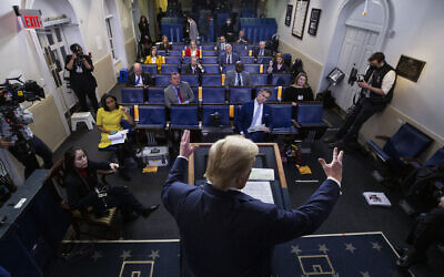 In this April 17, 2020, file photo US President Donald Trump speaks about the coronavirus in the James Brady Press Briefing Room of the White House in Washington. (AP Photo/Alex Brandon, File)