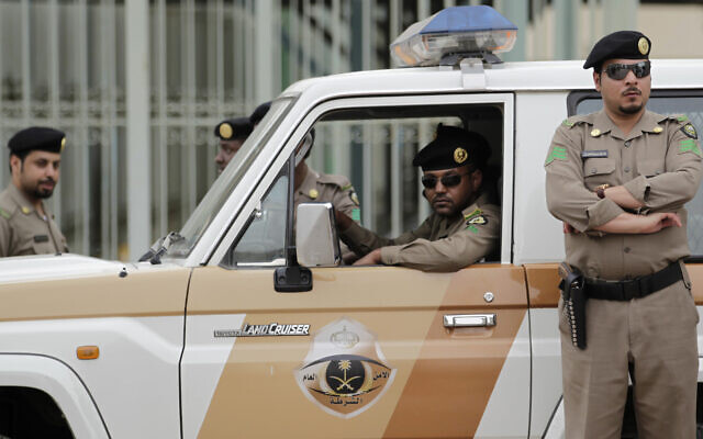 File: Saudi policemen in Riyadh, Saudi Arabia, Friday, March 11, 2011 (AP Photo/Hassan Ammar)