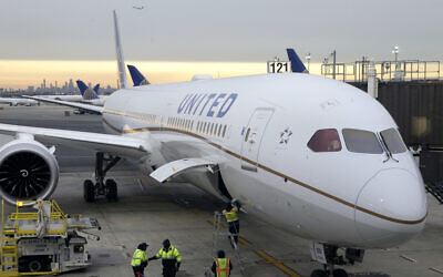 Illustrative: A Dreamliner 787-10 pulls up to a gate in Newark Liberty International Airport in Newark, New Jersey, in 2019 (AP Photo/Seth Wenig, File)