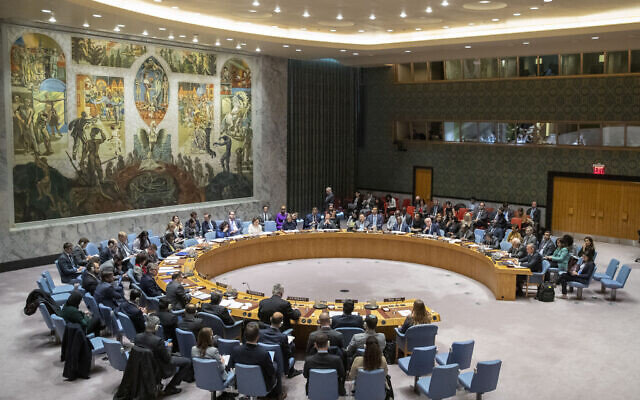 Illustrative: The UN Security Council holds a meeting, at United Nations headquarters, November 20, 2019. (Mary Altaffer/AP)